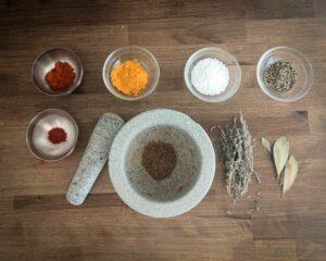 épices utilisés dans ma recette de légumes lactofermentés