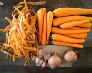 légumes pour lactofermentations épluchés